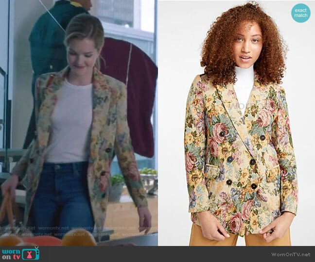 Tapestry Flower Woven Jacket by Icon worn by Sutton (Meghann Fahy) on The Bold Type