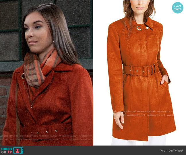 INC International Concepts Faux-Suede Trench Coat worn by Willow Tait (Katelyn MacMullen) on General Hospital
