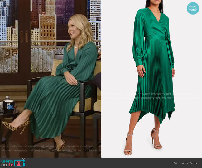 Allison Pleated Wrap Dress by Intermix worn by Kelly Ripa  on Live with Kelly & Ryan