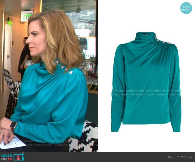 Monica Draped Silk Blouse by Intermix worn by Natalie Morales  on Today
