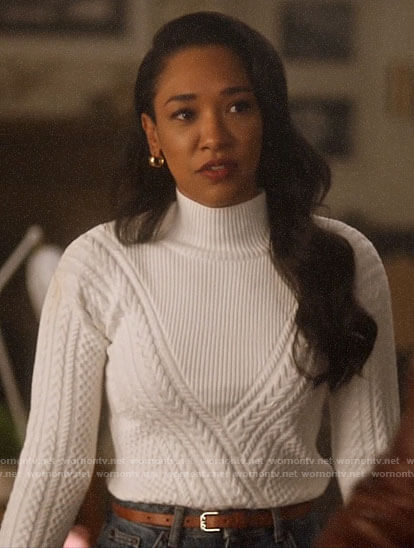 Iris's white chevron cable knit sweater on The Flash