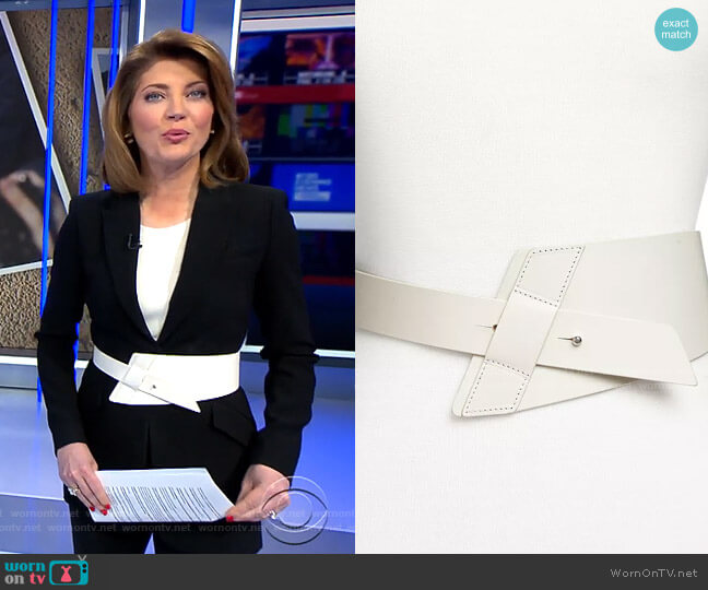 Tapered Leather Belt by Iro worn by Norah O'Donnell  on CBS Evening News