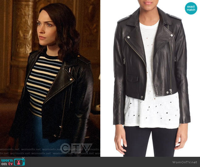 IRO Ashville Leather Jacket worn by Cara Bloom (Violett Beane) on God Friended Me