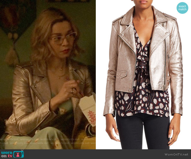 IRO Ashville Cropped Metallic Jacket worn by Pepper Smith (Julia Chan) on Katy Keene