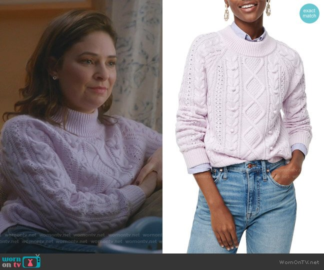 Azra Cable Knit Pullover by J. Crew worn by Taylor Rentzel (MacKenzie Meehan) on Bull