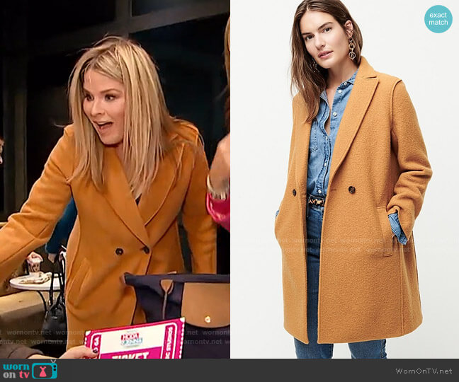 Daphne topcoat in Italian boiled wool by J.Crew worn by Jenna Bush Hager  on Today