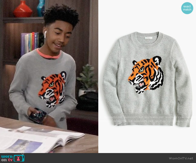 J. Crew Kids Cotton Tiger Sweater worn by Jack Johnson (Miles Brown) on Blackish