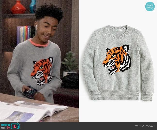 J. Crew Kids Cotton Tiger Sweater worn by Jack Johnson (Miles Brown) on Blackish