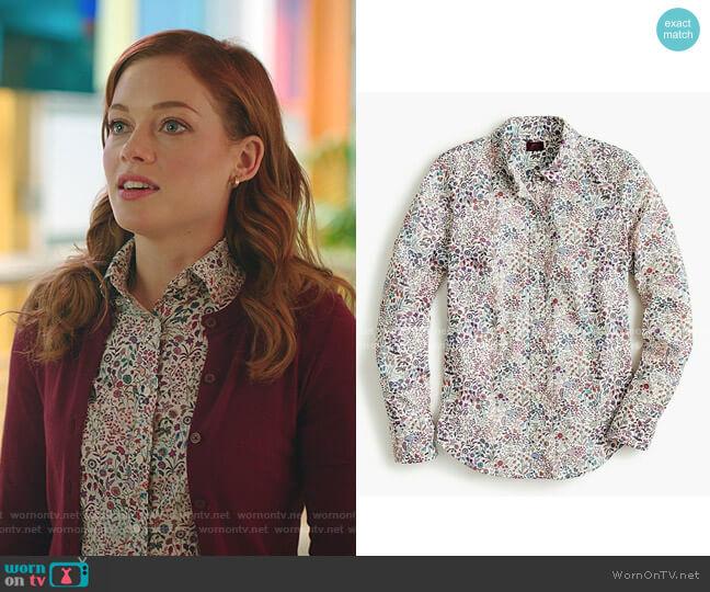 Slim perfect shirt in Liberty by J. Crew worn by Zoey Clarke (Jane Levy) on Zoeys Extraordinary Playlist