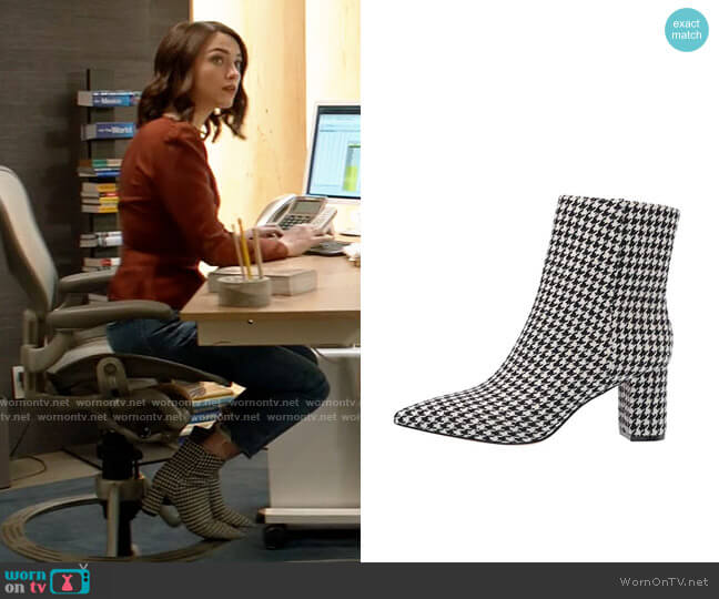 J. Crew Houndstooth Pointy Toe Maya Boot worn by Cara Bloom (Violett Beane) on God Friended Me