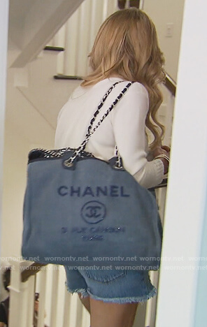 Jackie's blue denim Chanel tote on The Real Housewives of New Jersey