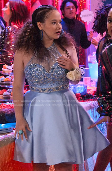 Jade's light blue embellished party dress on Family Reunion