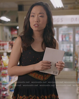 Janet's black embroidered tank on Kims Convenience