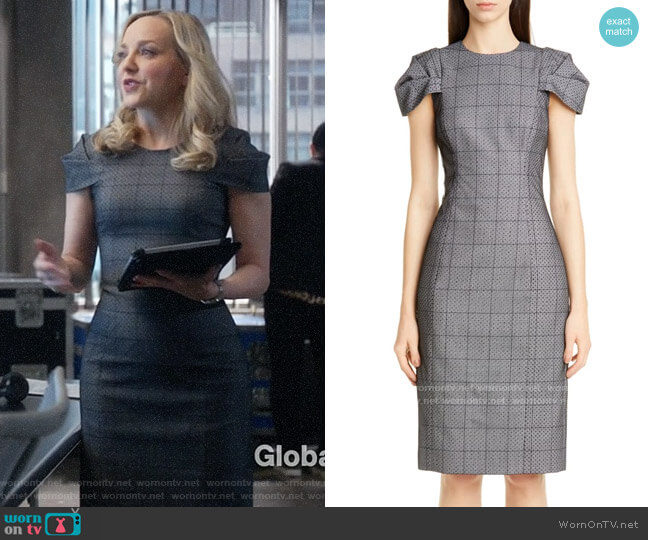 Jason Wu Collection Lace Overlay Glen Plaid Sheath Dress worn by Marissa Morgan (Geneva Carr) on Bull