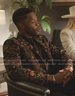 Jeff's black floral blazer on Dynasty