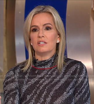 Jennifer Ashton's grey zebra sweater on Good Morning America