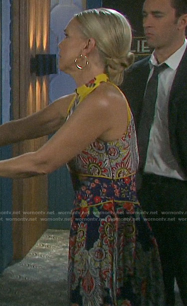 Jennifer's scarf print maxi dress on Days of our Lives