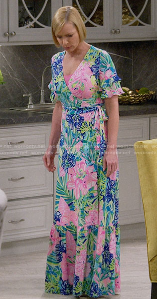Jill's floral maxi wrap dress on Mom