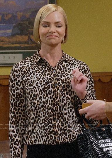 Jill's leopard print button down blouse on Mom