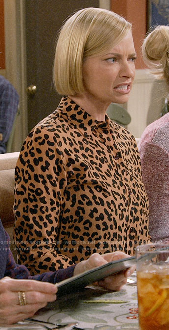 Jill's leopard print button down shirt on Mom