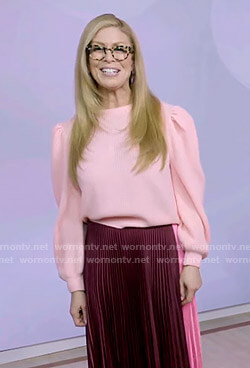 Jill's pink puff sleeve sweater and colorblock pleated skirt on Today