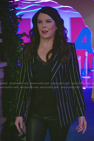 Joan's black mesh inset top and striped blazer on Zoeys Extraordinary Playlist