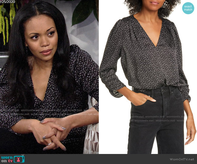 Joie Maizie Top worn by Amanda Sinclair (Mishael Morgan) on The Young & the Restless