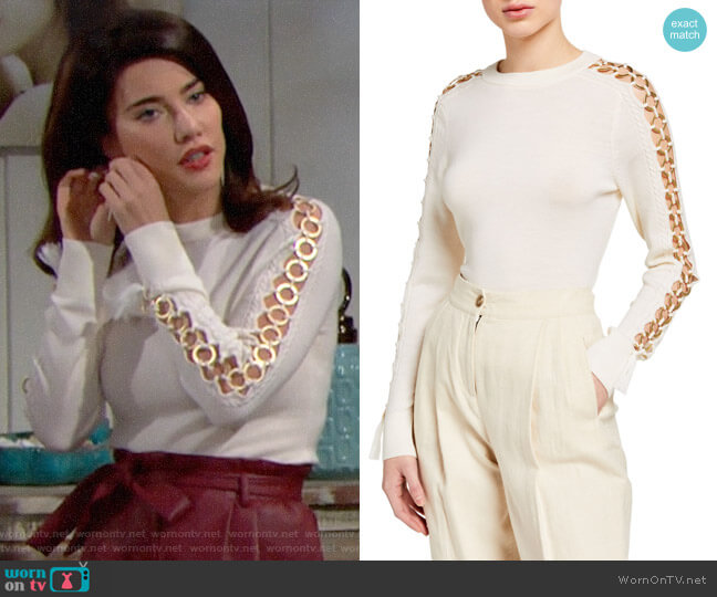 Jonathan Simkhai O-Ring Wool Crewneck Sweater worn by Steffy Forrester (Jacqueline MacInnes Wood) on The Bold & the Beautiful