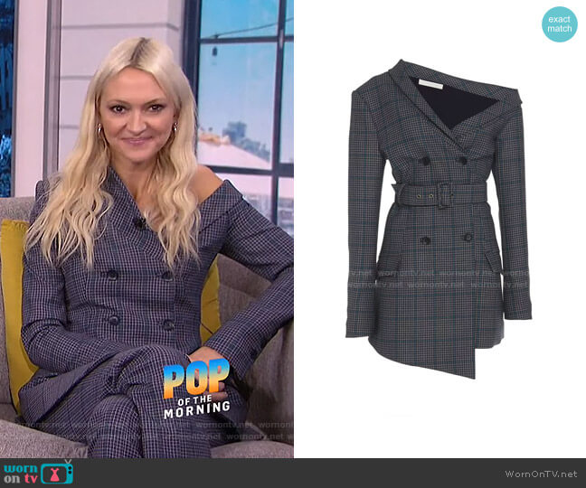 Plaid One Shoulder Blazer by Jonathan Simkhai worn by Zanna Roberts Rassi on E! News