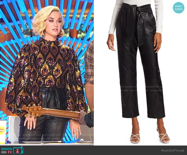 Vegan Leather Tie-Waist Pants by Jonathan Simkhai worn by Katy Perry  on American Idol