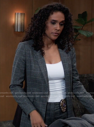 Jordan's grey plaid blazer with black panels on General Hospital