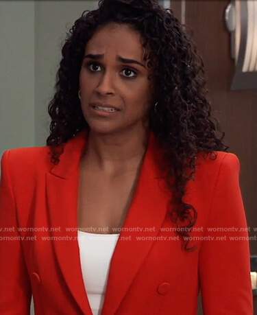 Jordan's red blazer dress on General Hospital