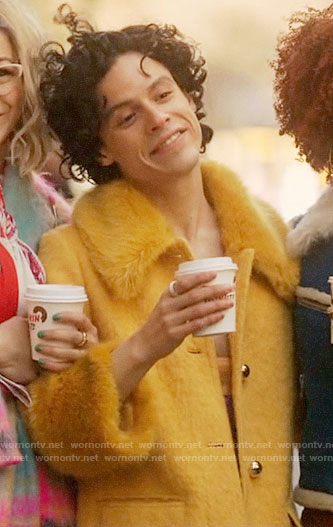 Jorge's yellow fur collar coat on Katy Keene