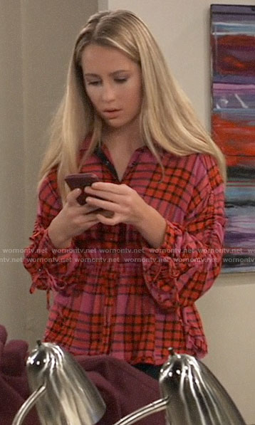 Josslyn's pink plaid top with drawstring sleeves on General Hospital