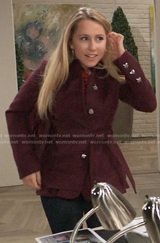 Josslyn's burgundy belted coat on General Hospital