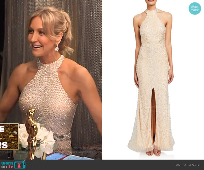 Beaded Open-Back Front-Slit Halter Gown by Jovani worn by Lara Spencer  on Good Morning America