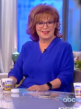 Joy's blue v-neck blouse on The View