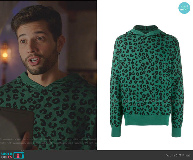Jungle Leopard Sweater Hoodie by Just Don worn by Sam Flores (Rafael de la Fuente) on Dynasty