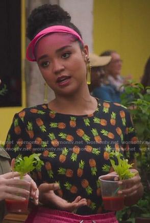 Kat's black pineapple print tee on The Bold Type