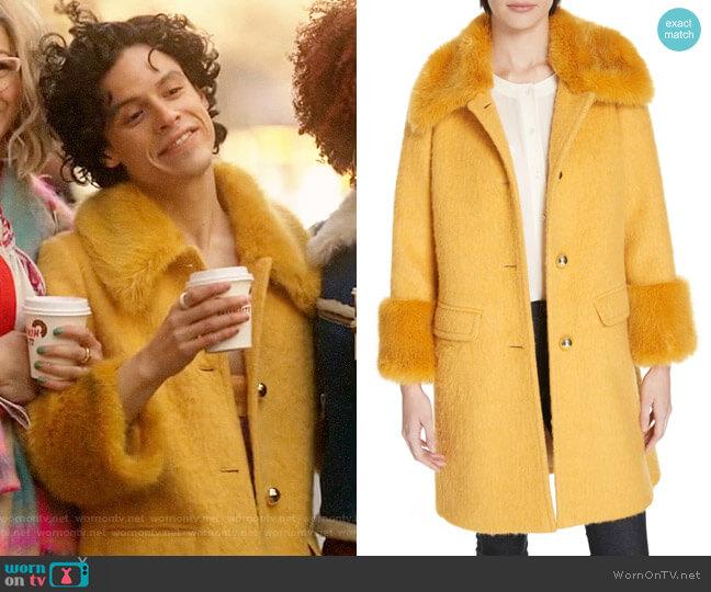 Kate Spade Faux Fur Trim Fluffy Coat worn by Jorge Lopez (Jonny Beauchamp) on Katy Keene