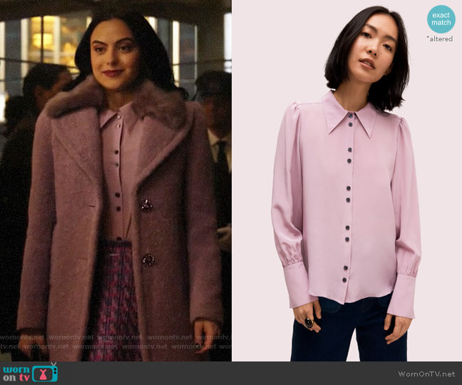 Kate Spade Silk Point Collar Blouse worn by Veronica Lodge (Camila Mendes) on Riverdale