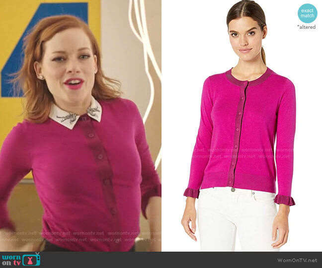 Ruffle Cardigan by Kate Spade worn by Zoey Clarke (Jane Levy) on Zoeys Extraordinary Playlist