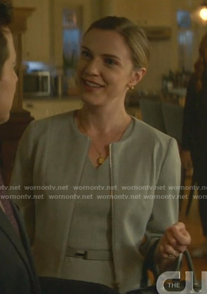 Katherine's grey v-neck dress and jacket on Nancy Drew