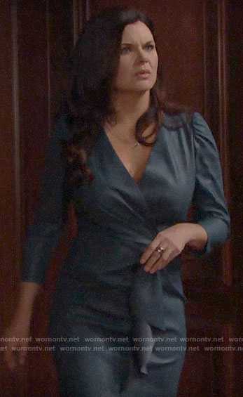 Katie's blue leather dress on The Bold and the Beautiful