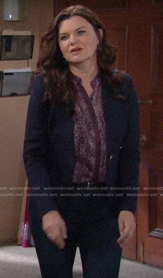 Katie's navy blazer on The Bold and the Beautiful