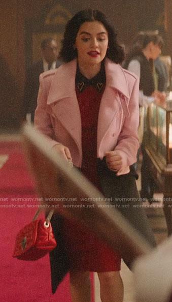 Katy's pink and black coat on Katy Keene