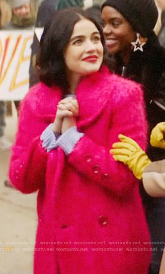 Katy's pink mohair coat on Katy Keene
