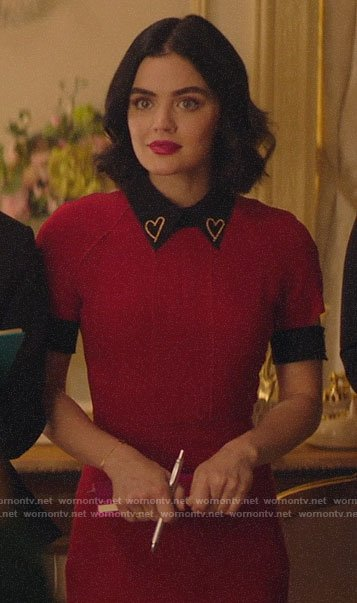 Katy's red dress with black heart collar on Katy Keene
