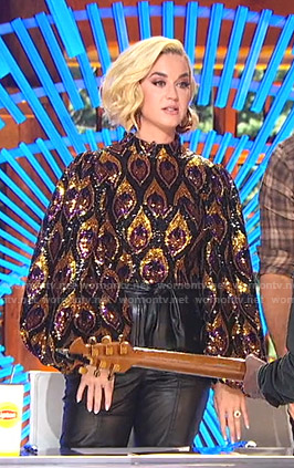 Katy's sequin puff sleeve top and leather pants on American Idol