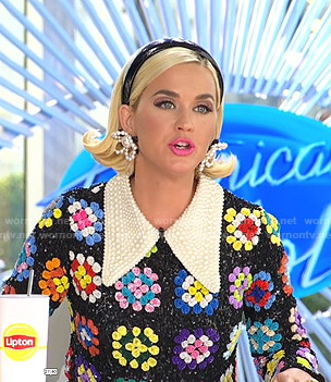 Katy's sequined floral dress with pearl collar on American Idol